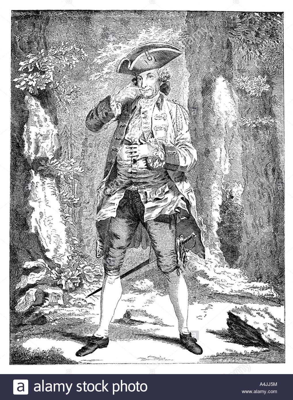 Mr Woodward in the character of Mercutio 1753  - Stock Image