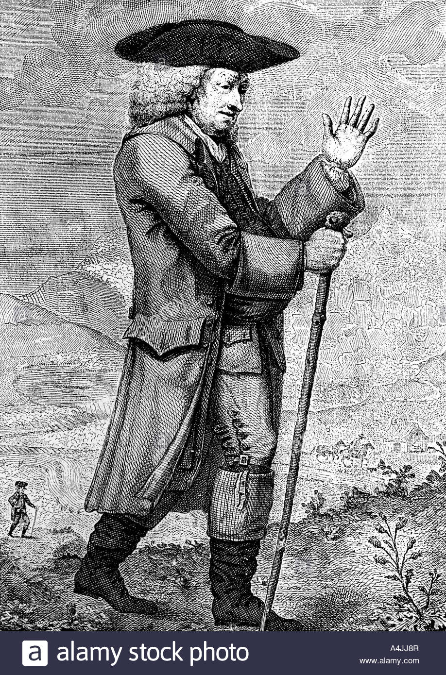 Dr Johnson in his travelling dress as described in Boswell s Tour c1773 1786  - Stock Image