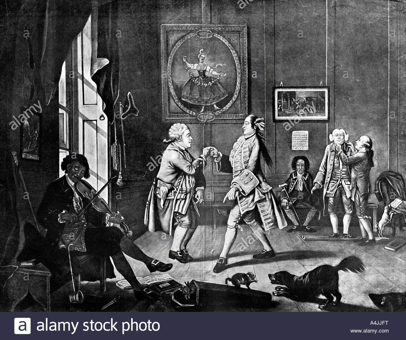 Grown Gentlemen Taught to Dance 1768  - Stock Image