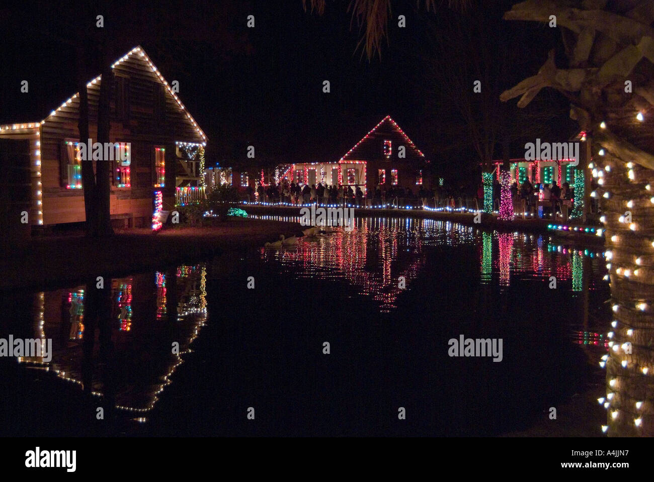 christmas lights acadian village louisiana stock image
