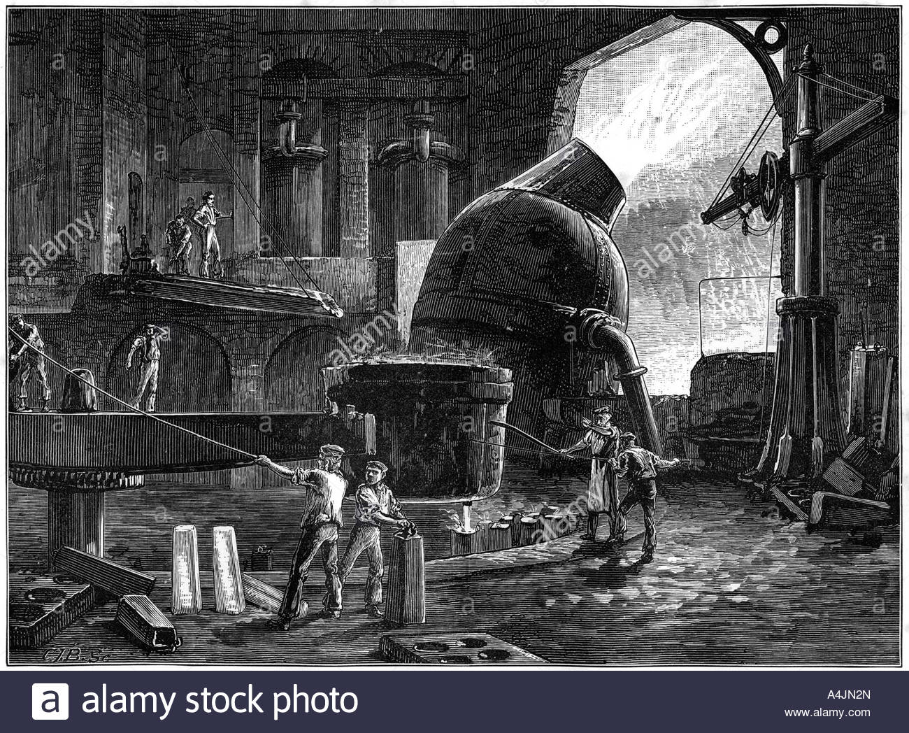 The Bessemer process for the mass production of steel c1880  - Stock Image