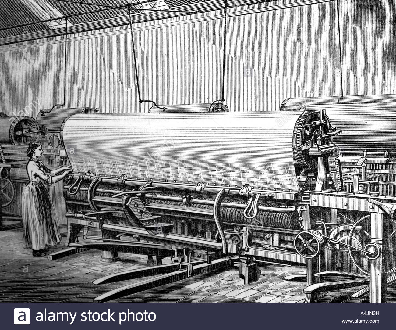 Net loom in the Stuart s factory c1880  - Stock Image
