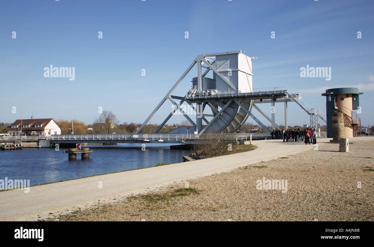 School trip to the historic site of Pegasus Bridge Benouville Calvados Normandy France Europe - Stock Image