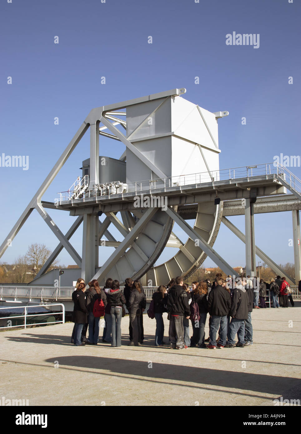 School visit to Pegasus Bridge the World War II battle site at Benouville, Normandy France - Stock Image