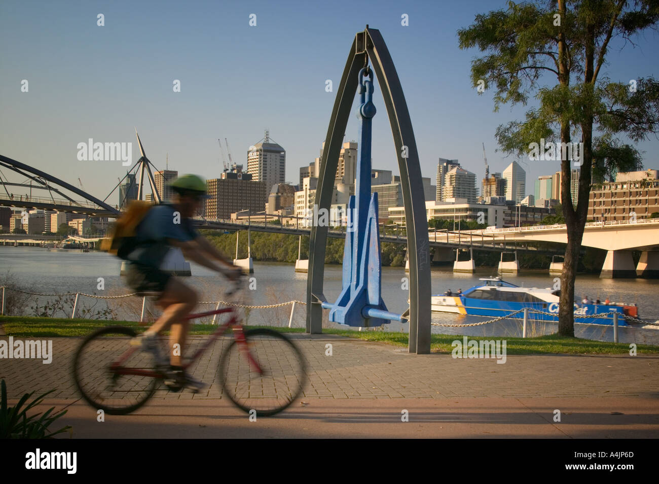 Cyclist riding along the River Walk as a CityCat catamaran passes on the Brisbane River. - Stock Image