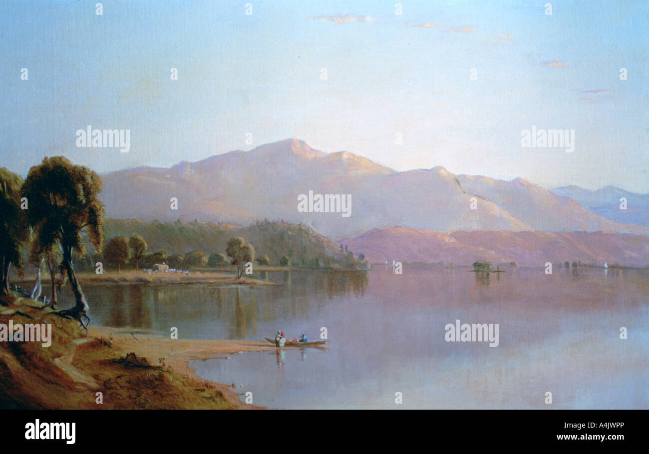 'Lake George, New York', c1843-1880. Artist: Sanford Robinson Gifford Stock Photo