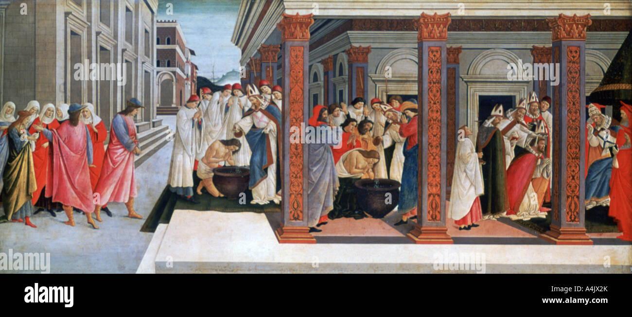 'Four Scenes from the Early Life of Saint Zenobius', c1500. Artist: Sandro Botticelli - Stock Image
