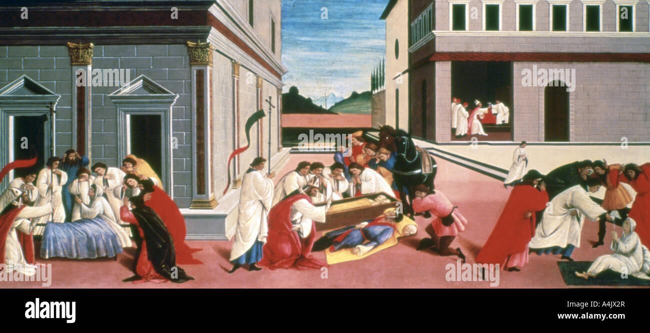 Three Miracles of St Zenobius', 1500-1505. Artist: Sandro Botticelli - Stock Image