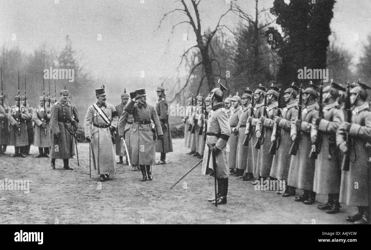 Emperor Karl I of Austria visiting Kaiser Wilhelm II at Army headquarters, World War I, 1917. Artist: Unknown Stock Photo