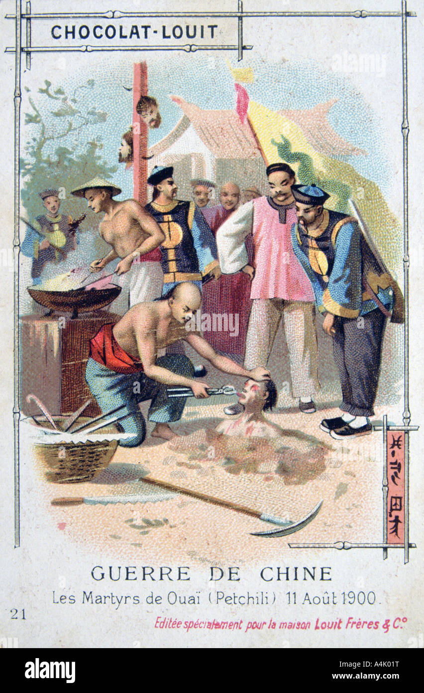 Martyrdom at Ouai (Petchili), China, Boxer Rebellion, 11 August 1900. Artist: Unknown - Stock Image