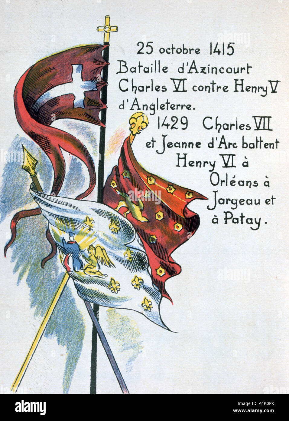 Battles of the The Hundred Years War, (20th century). Artist: Unknown - Stock Image