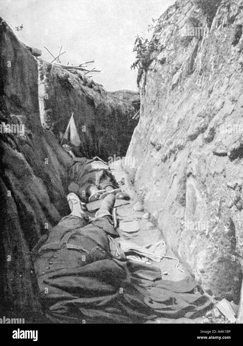 In one of the trenches of Quennevières Battle of Champagne 1915  - Stock Image