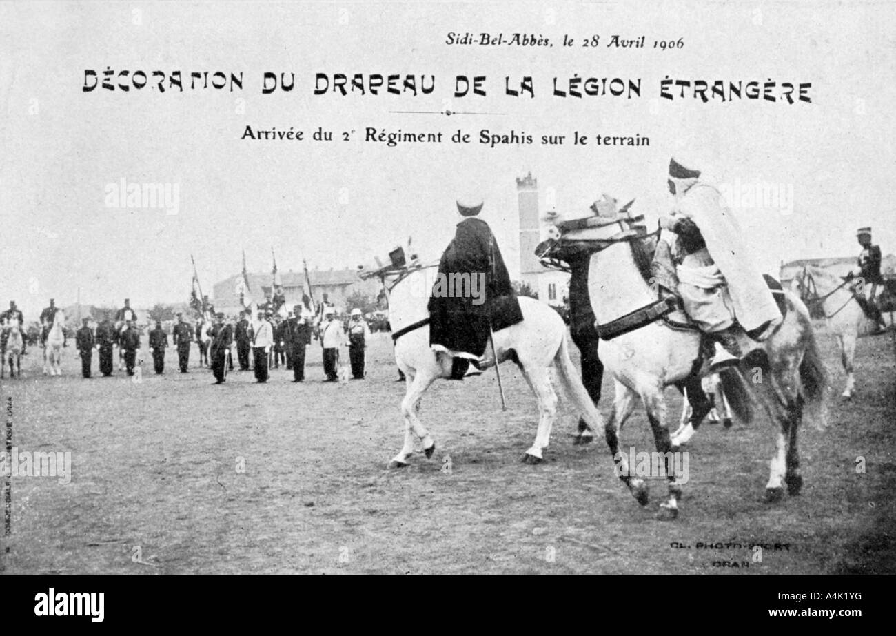Parading of the flag of the French Foreign Legion, Sidi Bel Abbes, Algeria, 28 April 1906. Artist: Unknown - Stock Image