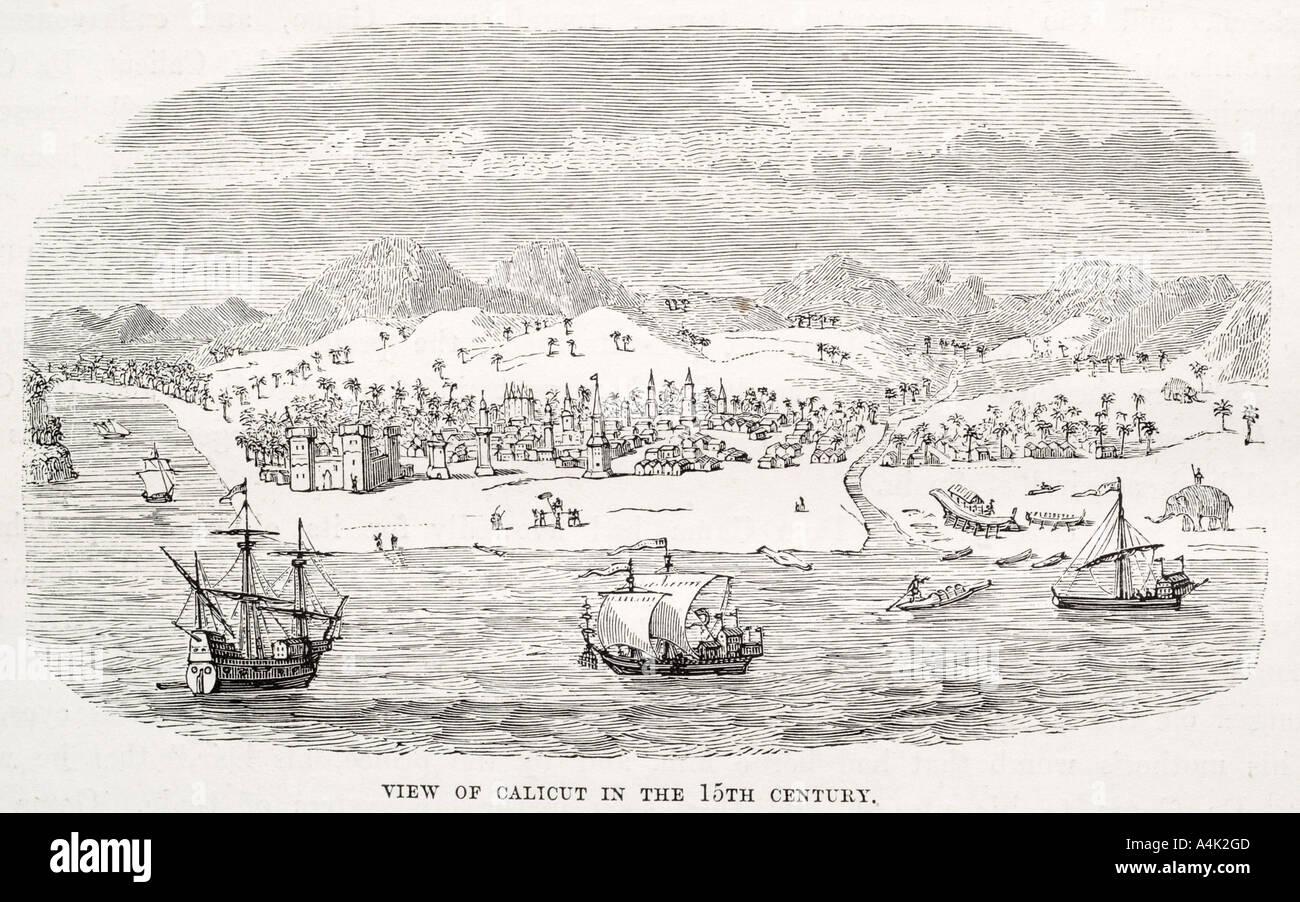 Calicut 15th century Portugal Portuguese town settlement coast India Asia trade colony protectorate ship sail fish Stock Photo
