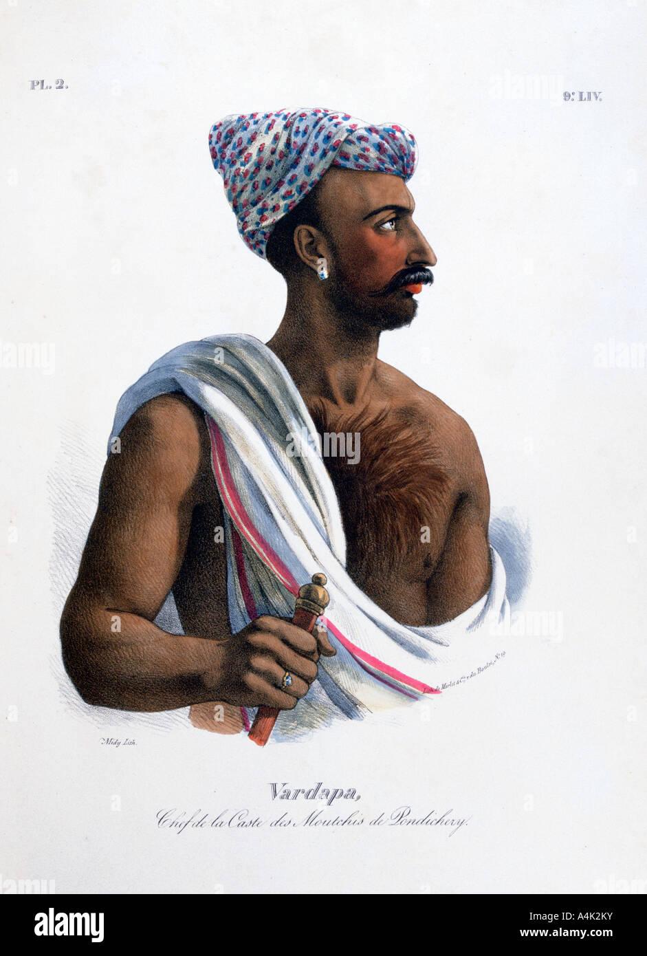 Chief of the Caste in Pondicherry Puducherry India 1828  - Stock Image