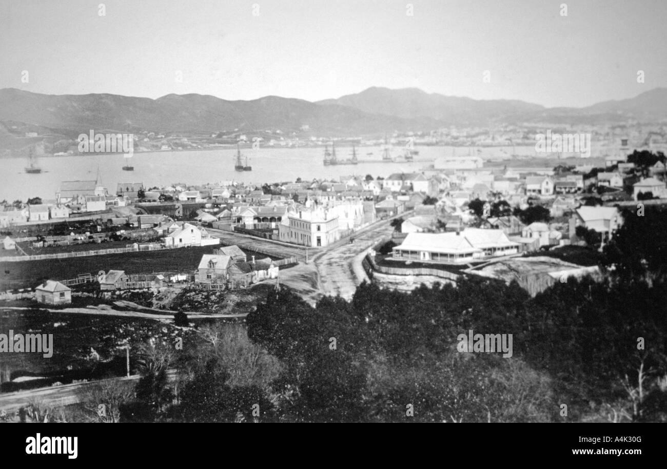 Lambton Harbour and Queen s Wharf Wellington New Zealand 1870  - Stock Image