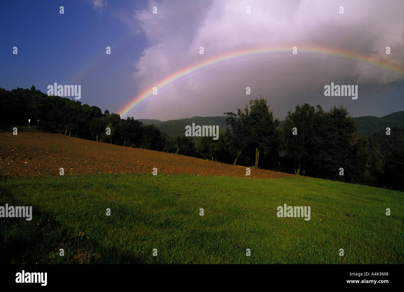 rainbow nature fields - Stock Image