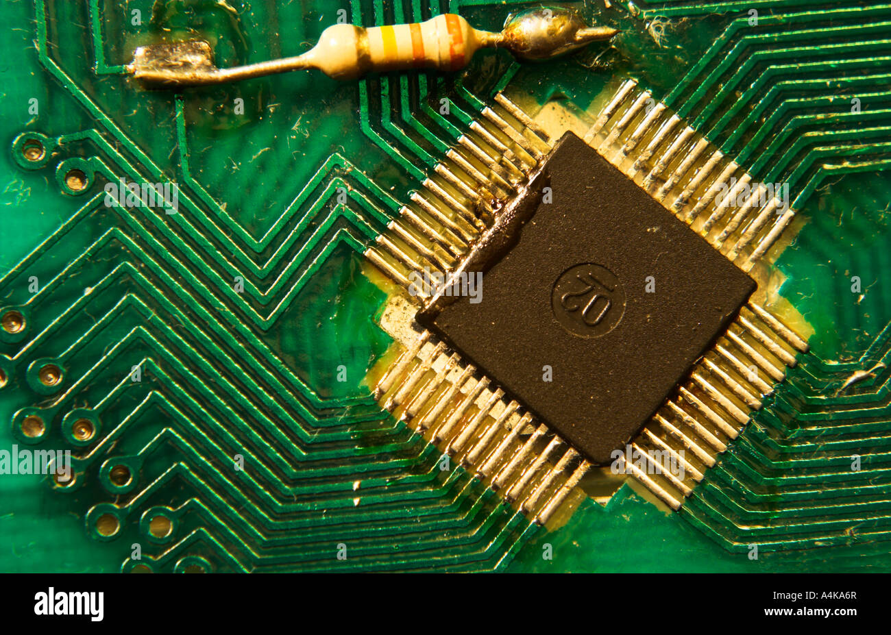 printed circuit board with central processor and gold plated stock