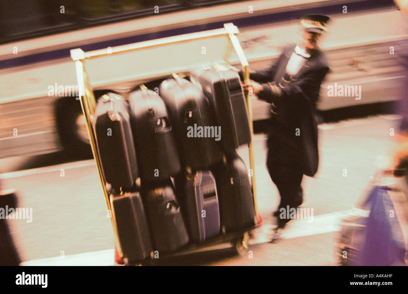 bellboy bellhop baggage luggage hotel - Stock Image