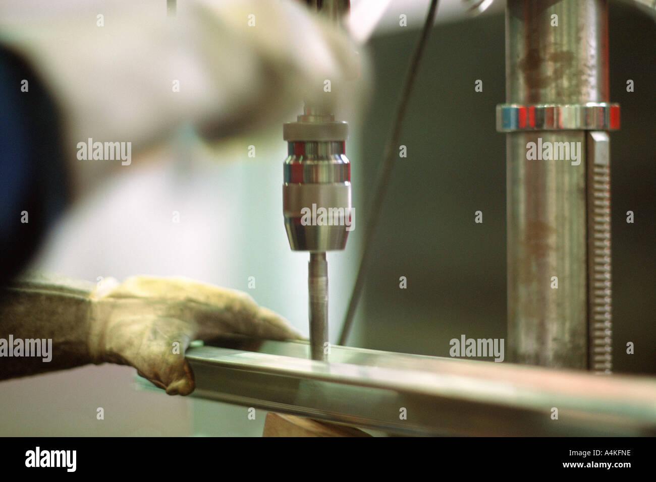 Drilling aluminum - Stock Image