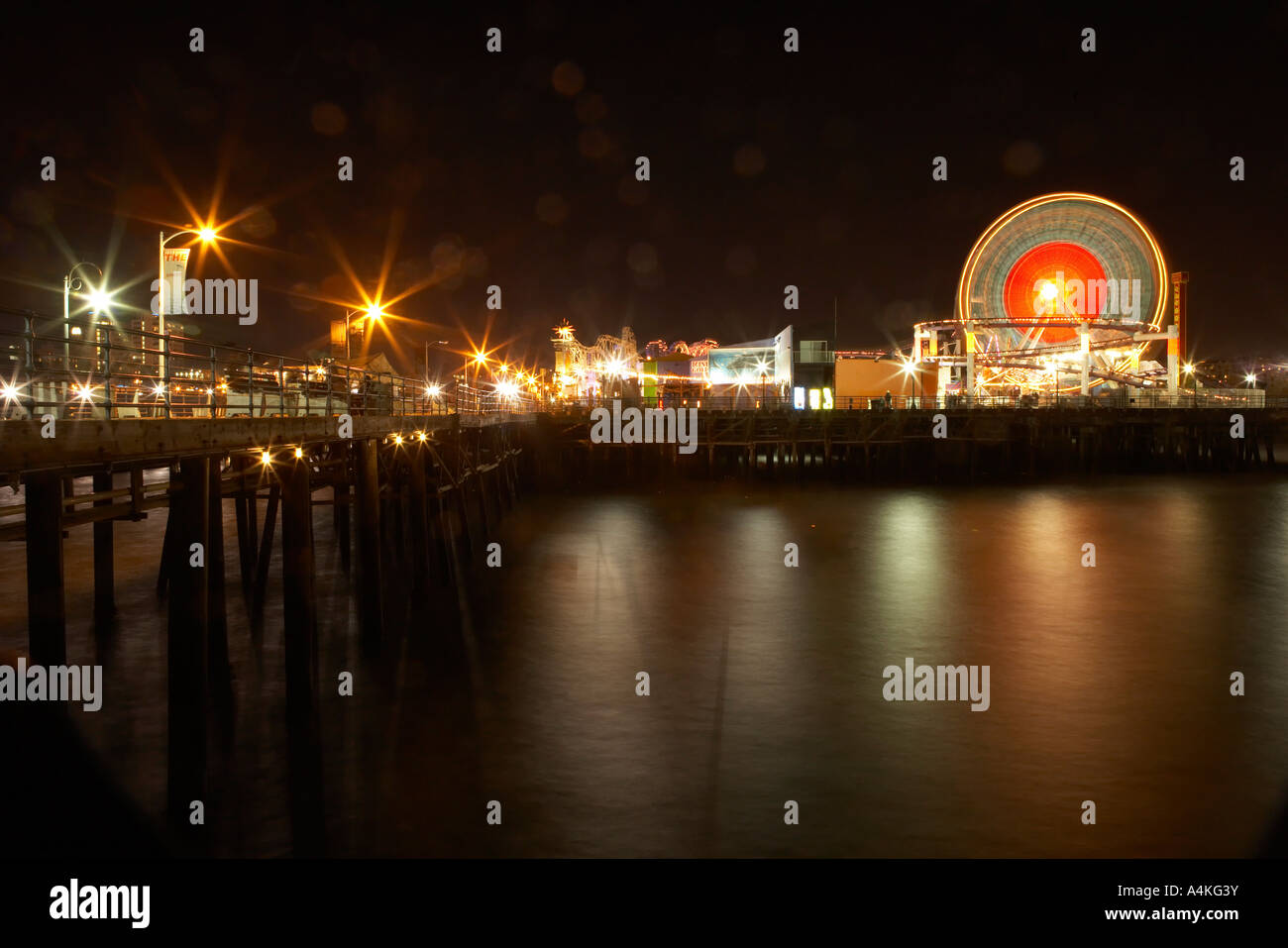 Long Exposure of Ferris Wheel on Pier, Santa Monica Los Angeles California, USA. - Stock Image