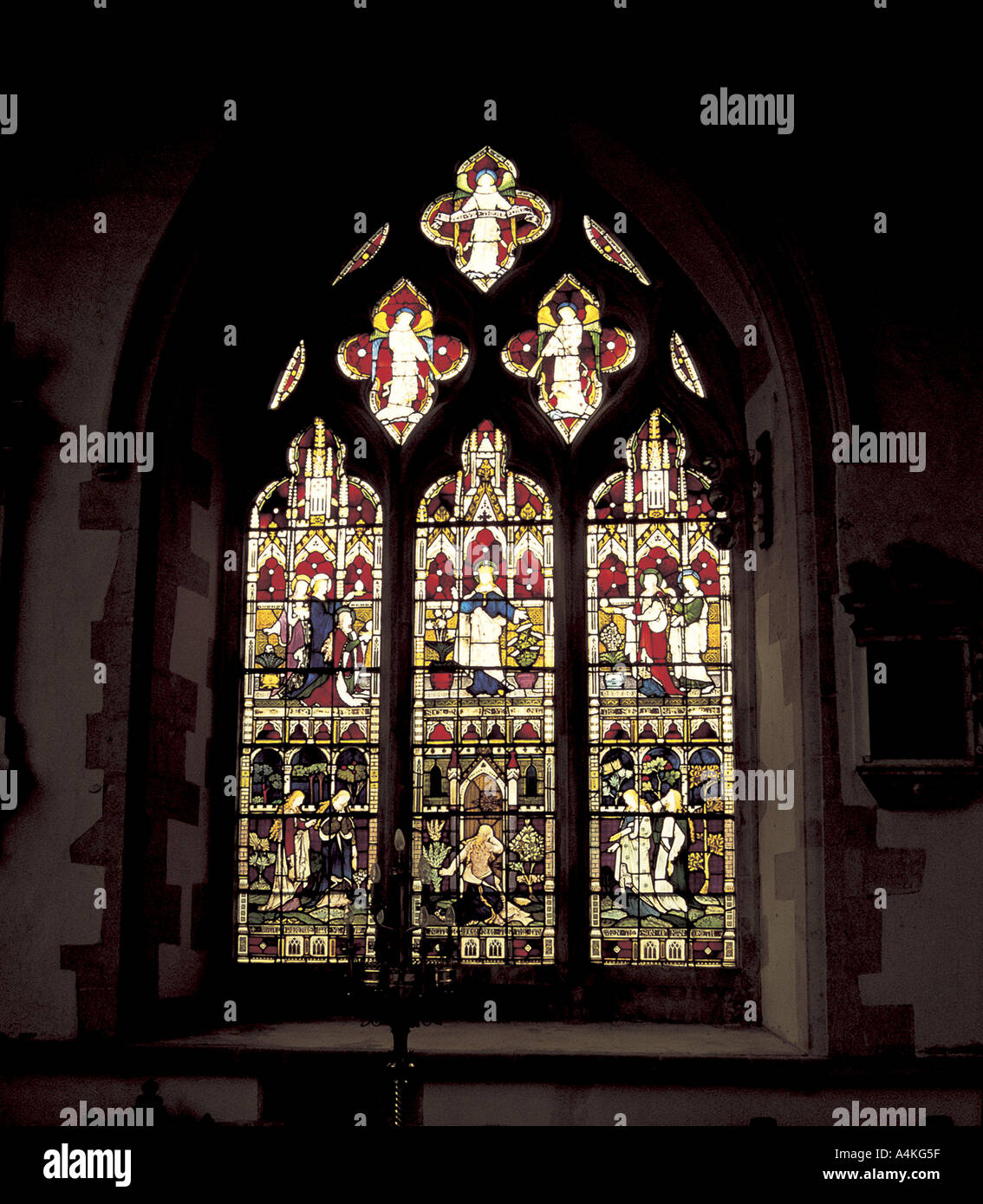 Stained glass in St Marys Church, Thame, Oxfordshire - Stock Image