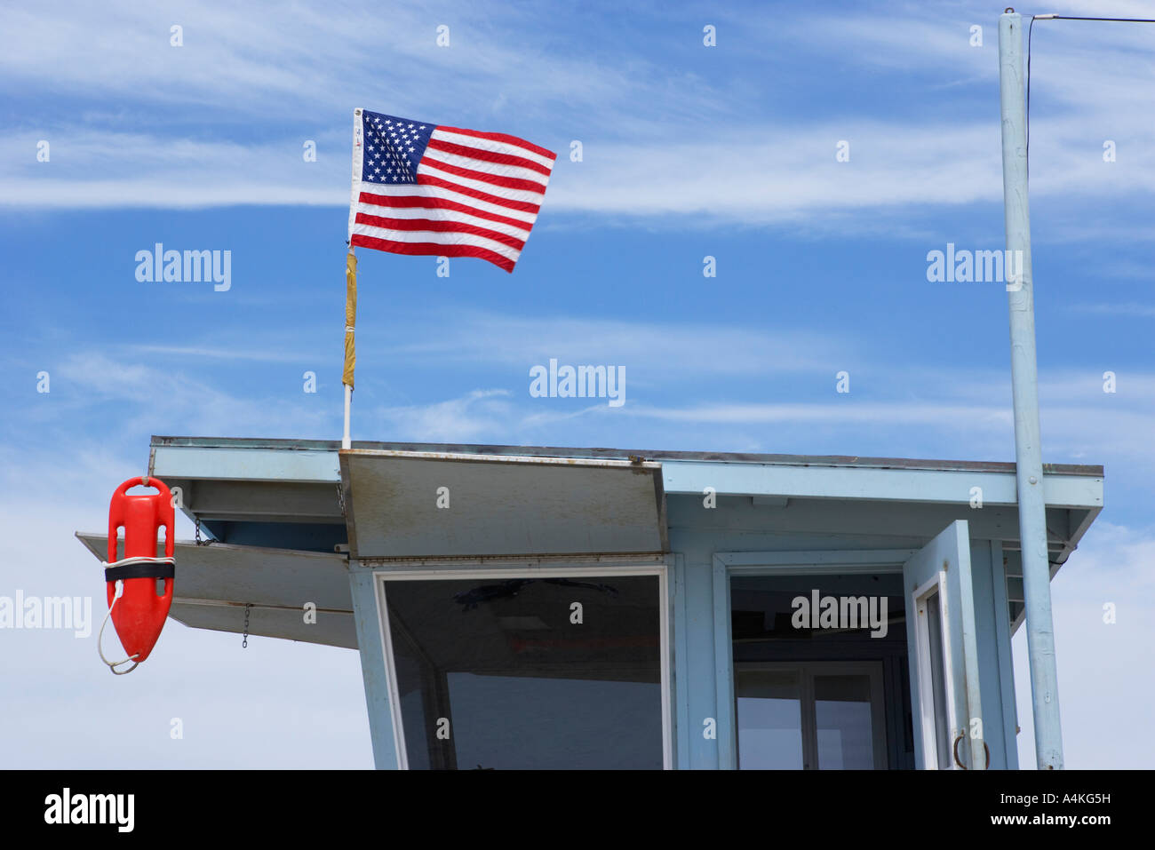 Lifeguard Tower on Beach in Santa Monica, Los Angeles California, USA. - Stock Image