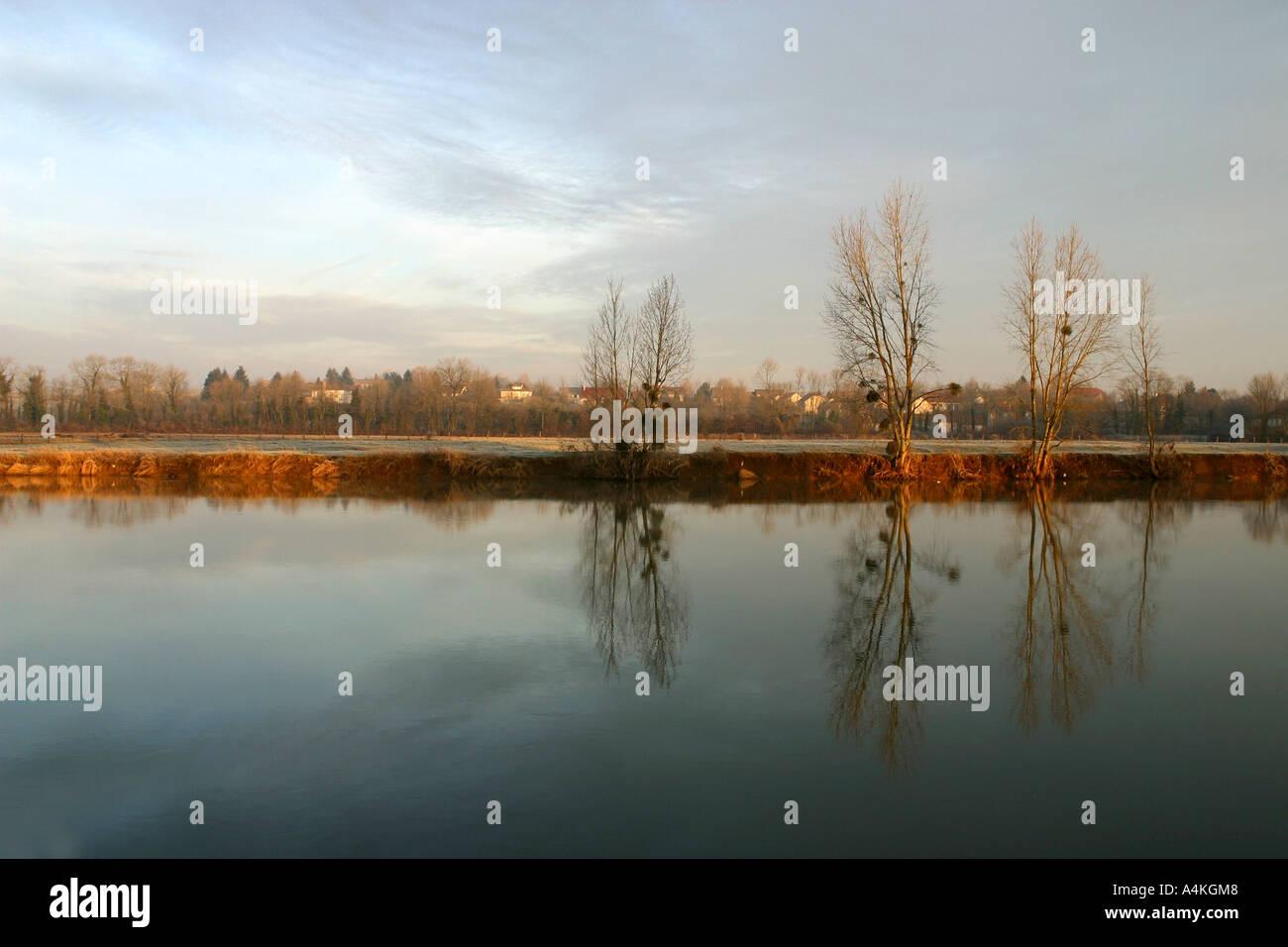 France, Jura, riverscape in winter - Stock Image