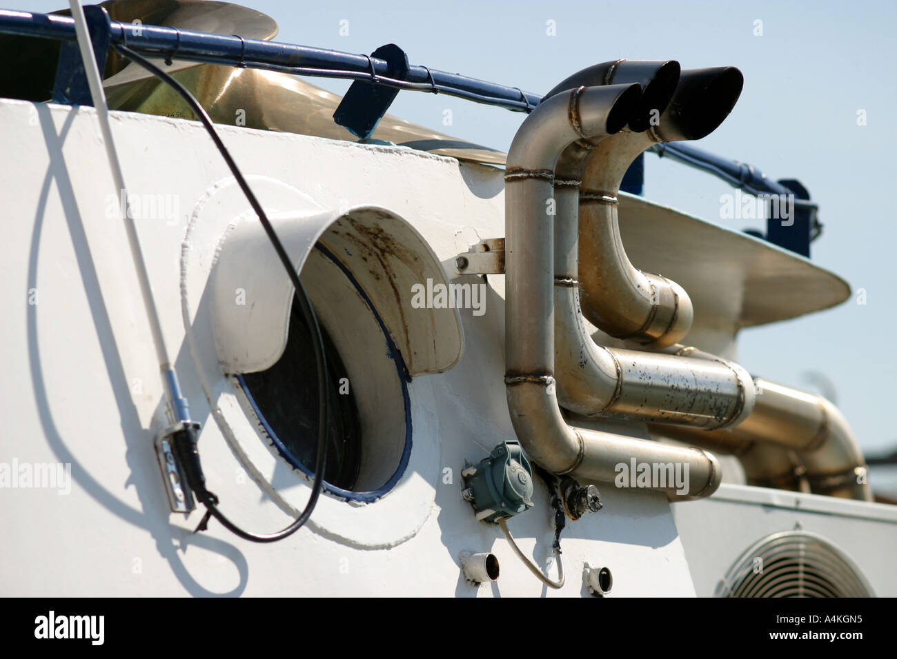 Pipes on boat, close-up - Stock Image