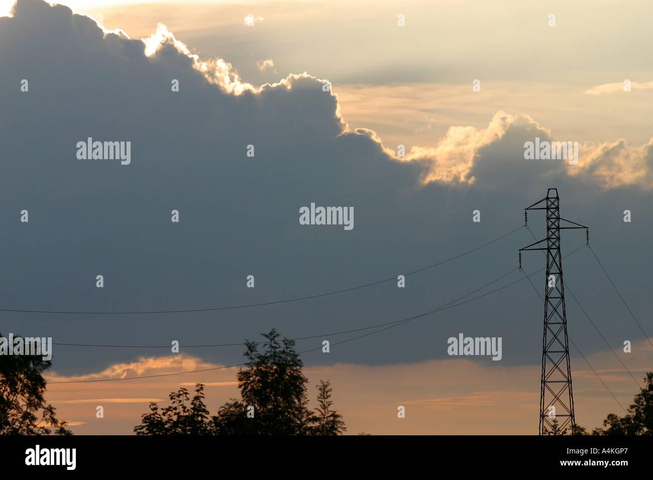Pylon and cloudscape - Stock Image