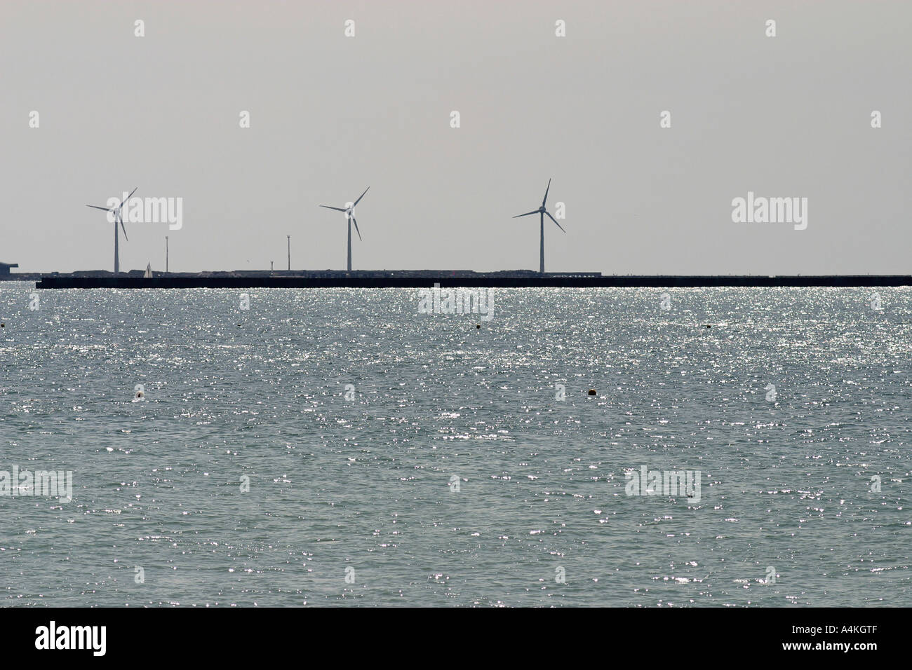 France, Cote-d'Opale, windturbines on the coast - Stock Image
