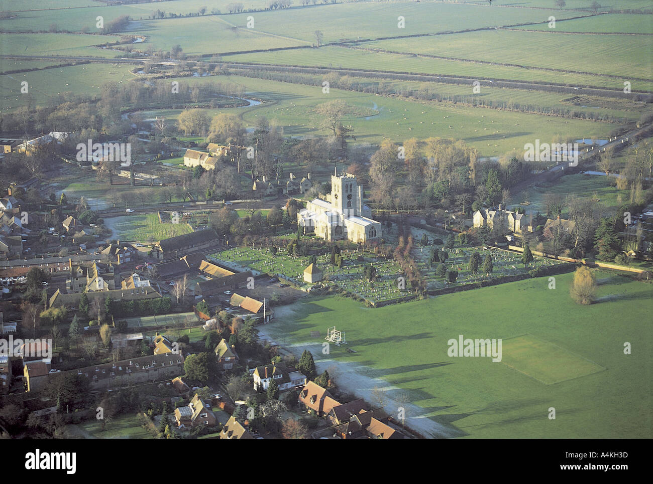 Aerial view of St Marys Church, Thame, Oxfordshire - Stock Image