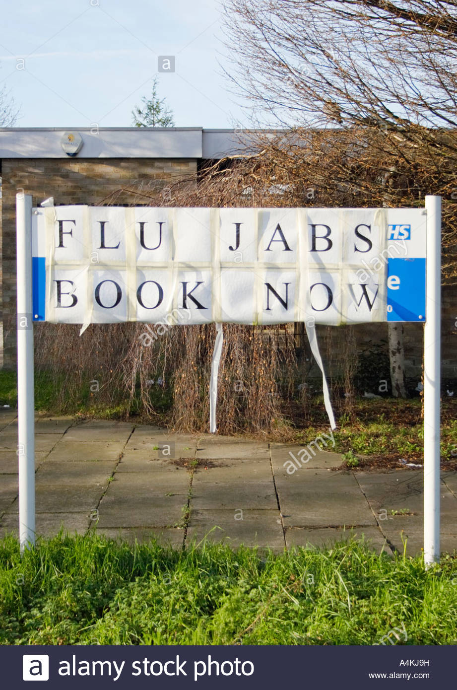 Flu jab sign. - Stock Image