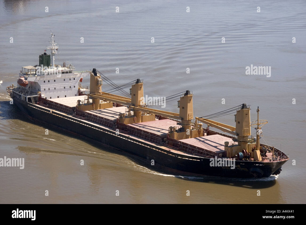 Grain ship on the Mississippi River near New Orleans
