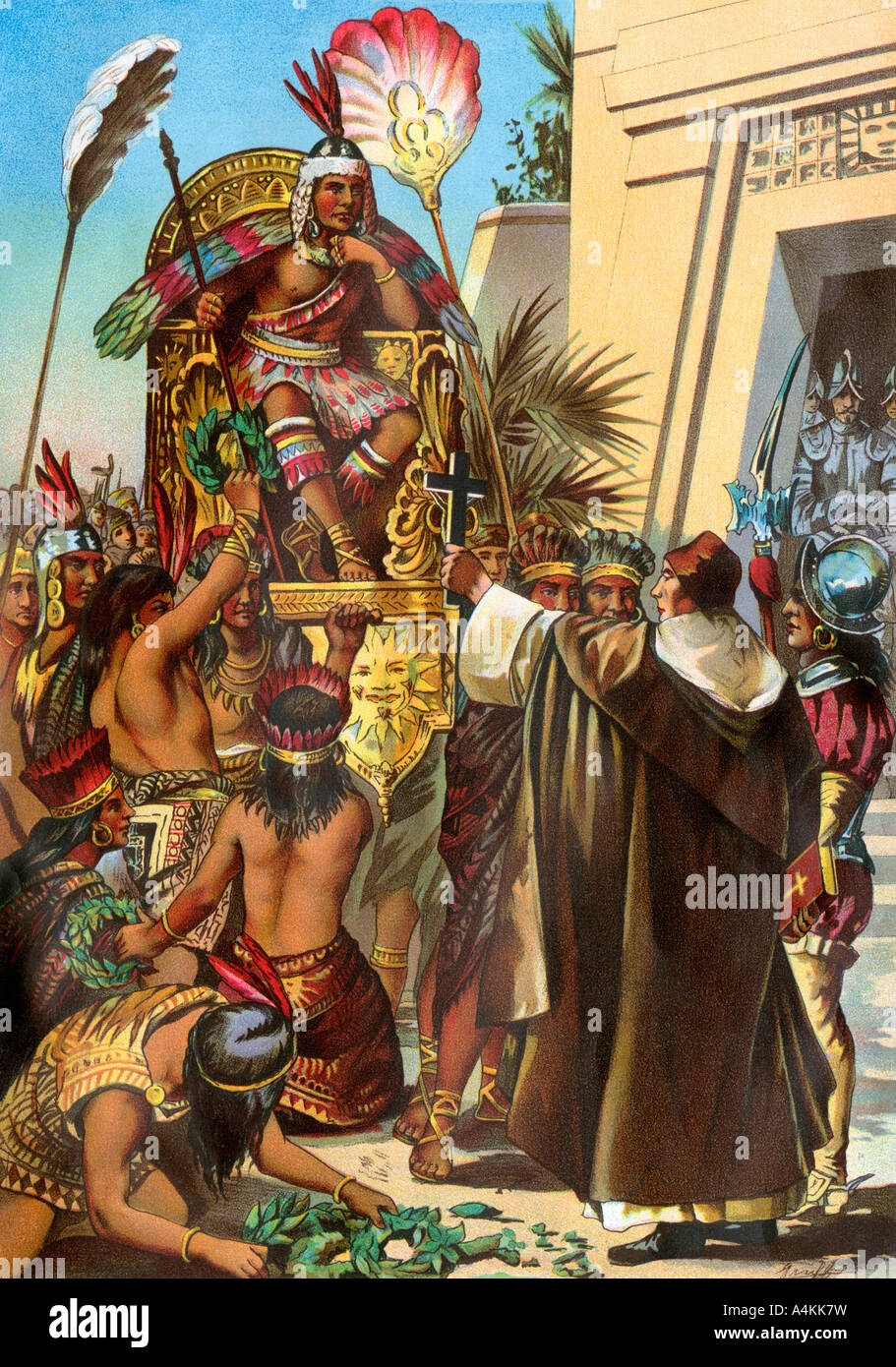 Missionary Father Valverde Addresses The Inca King