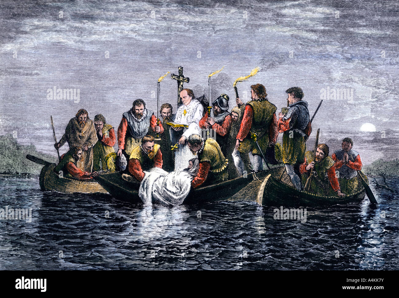Secret burial of Hernando de Soto in the Mississippi River at night 1542. Hand-colored woodcut - Stock Image