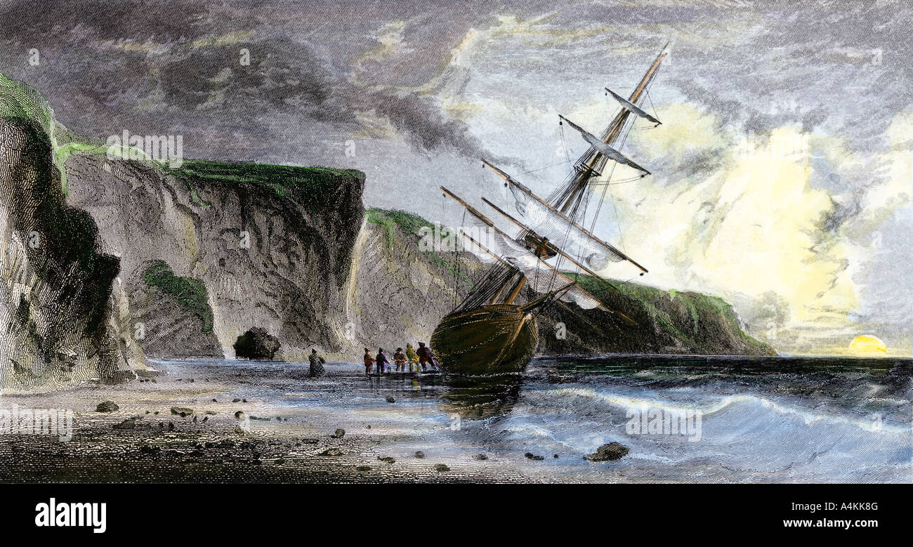 Henry Grinnell ship aground during Elisha Kent Kane expedition search for Sir John Franklin under the midnight sun - Stock Image
