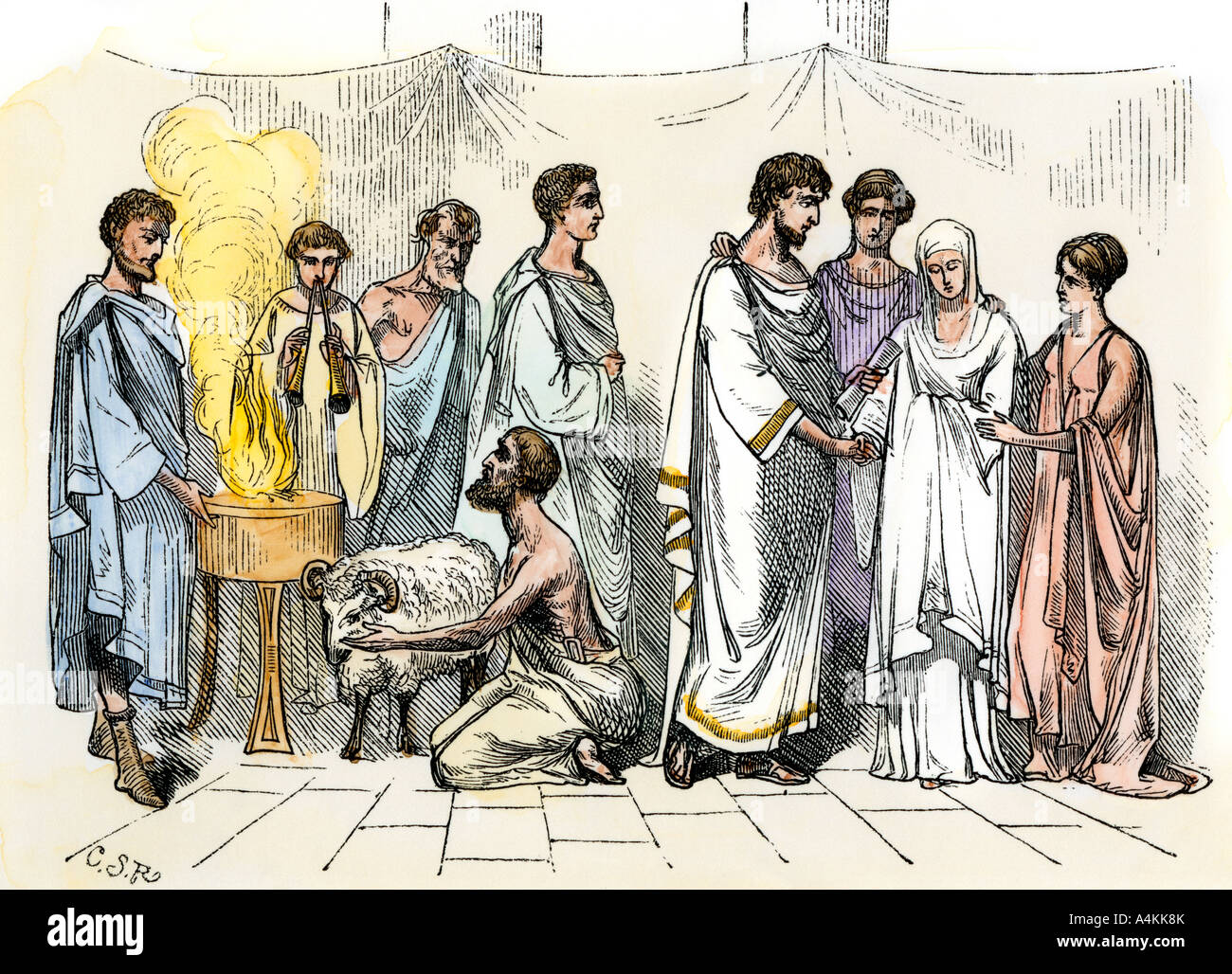 Matrimonio Epoca Romana : Sacrifice of a ram for marriage ceremony in ancient rome