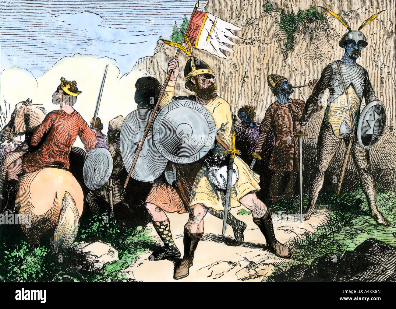 Anglo-Saxon warriors of the 10th century in the British Isles. Hand-colored woodcut - Stock Image
