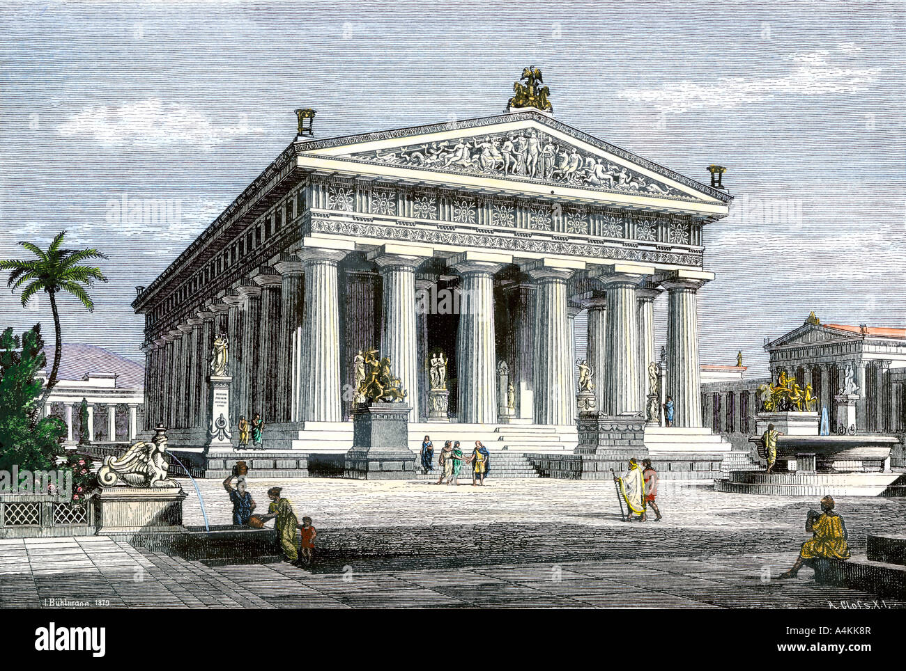 Temple of Poseidon at Paestum an ancient Greek colony in southern Italy. Hand-colored woodcut - Stock Image