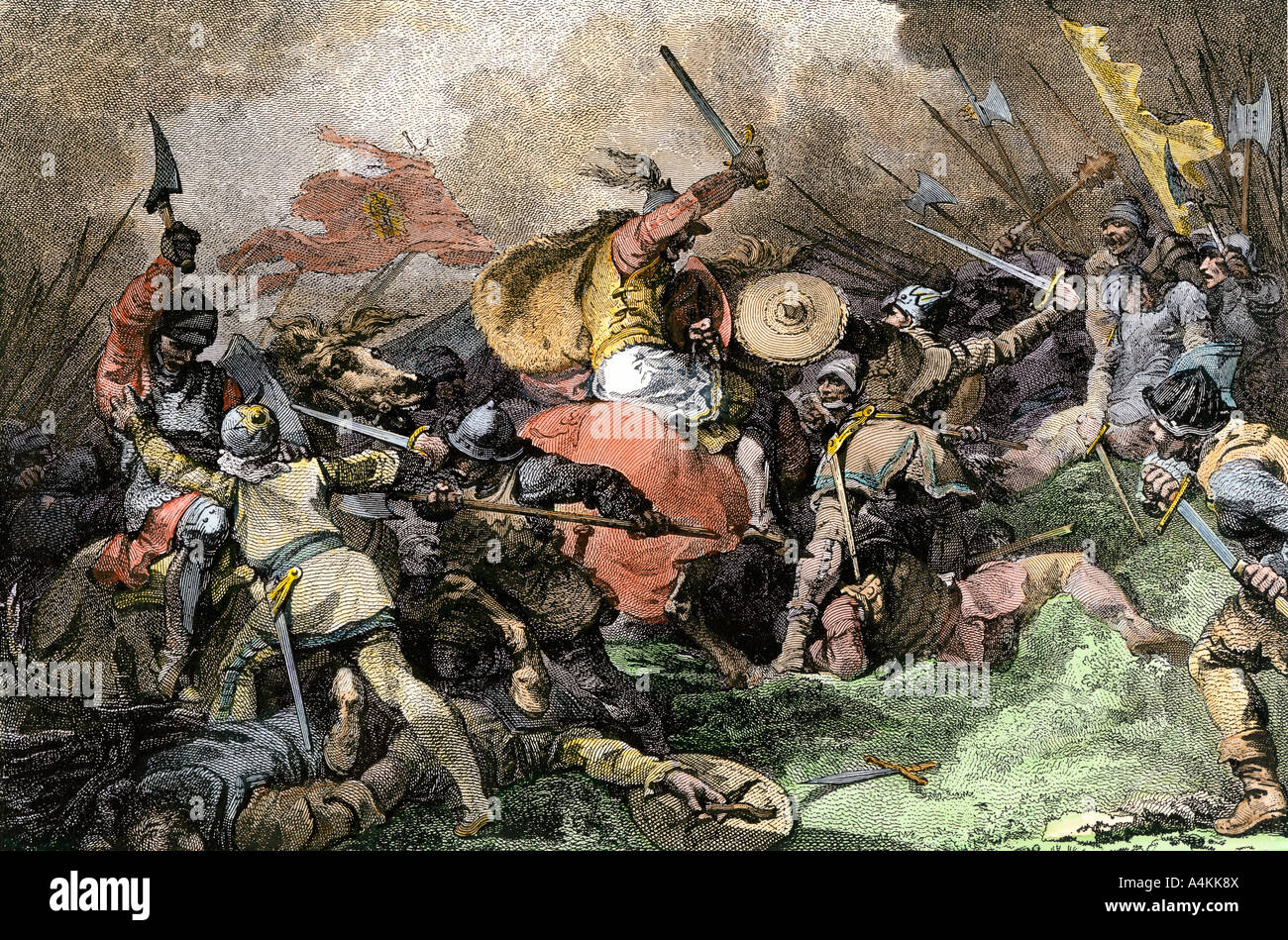 Saxons defeated by William the Conqueror at the Battle of Hastings 1066. Hand-colored engraving - Stock Image