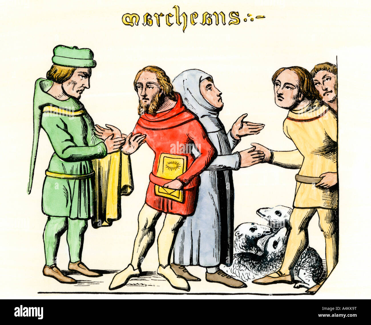 Merchants bartering sheep for goods in the Middle Ages. Hand-colored woodcut - Stock Image