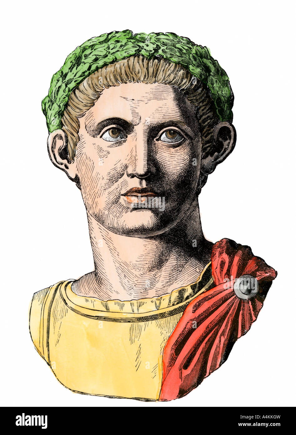 Roman emperor Constantine I known as the Great. Hand-colored woodcut - Stock Image
