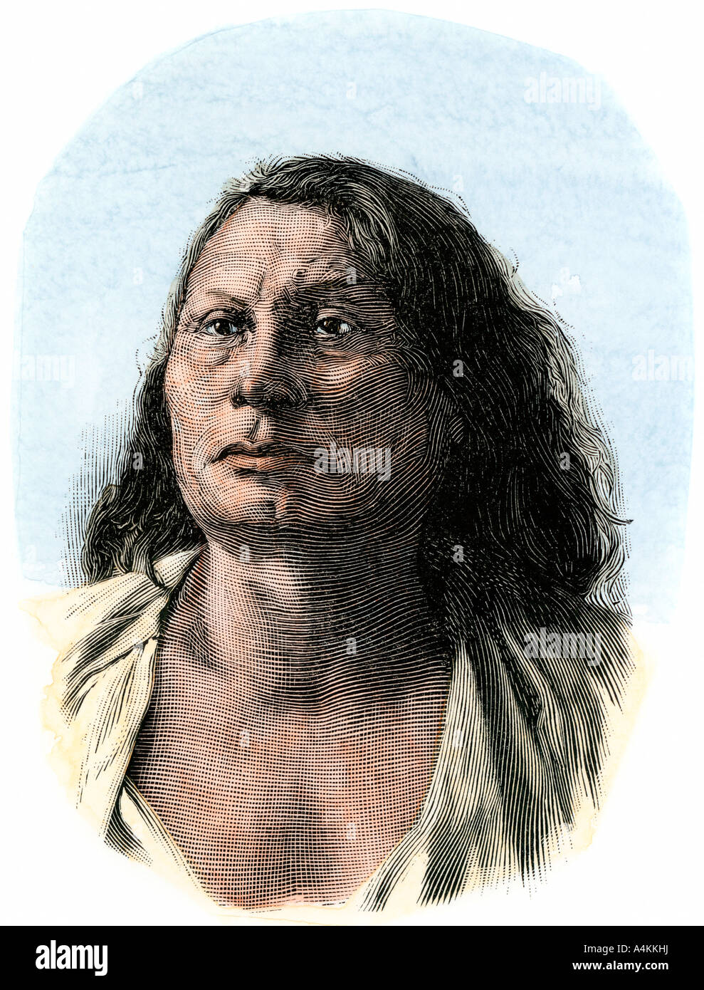 Chief Gall a Sioux leader in the Battle of the Little Bighorn. Hand-colored woodcut - Stock Image