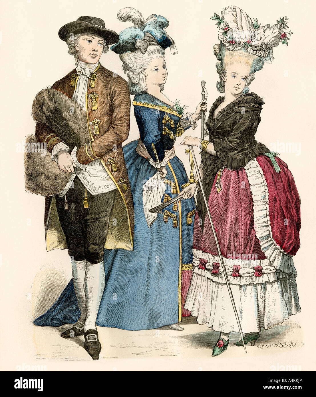 French clothing and hair fashion 1770s Stock Photo ...