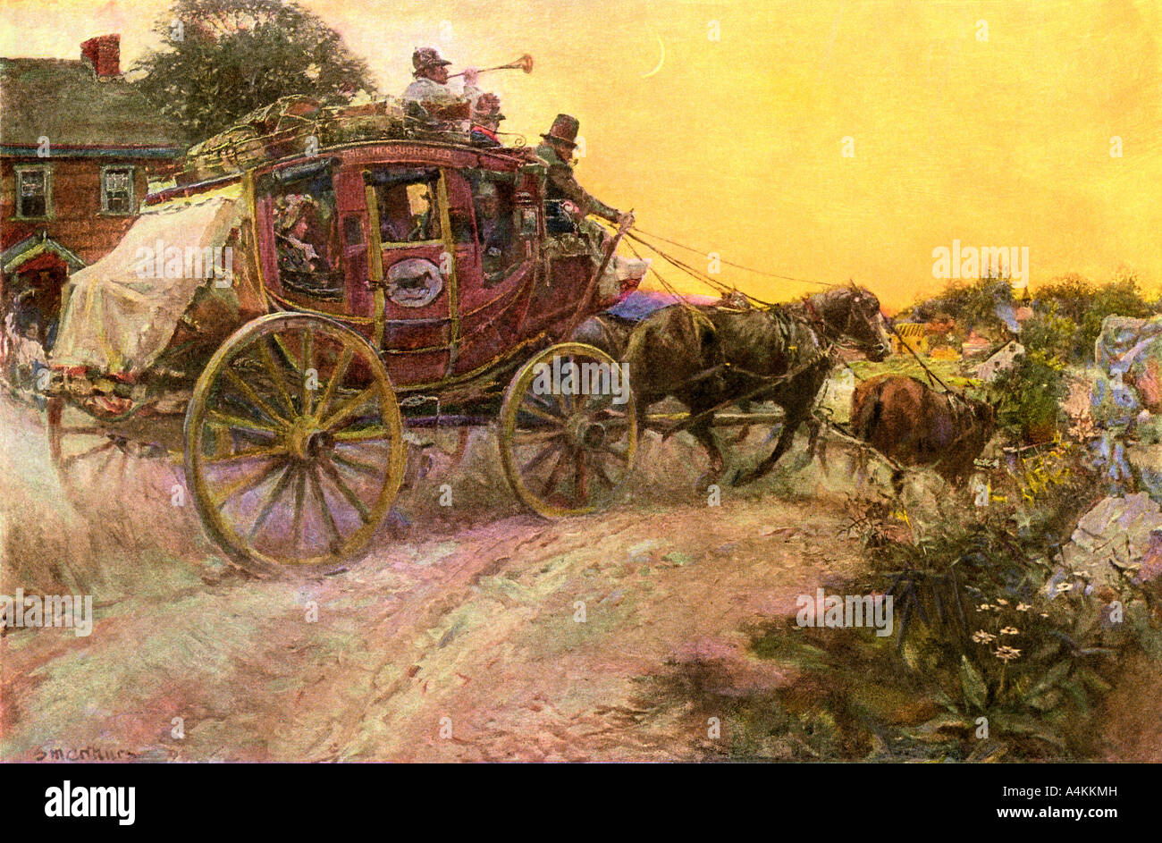 Evening stagecoach arriving in a village with the mail in the early 1800s - Stock Image