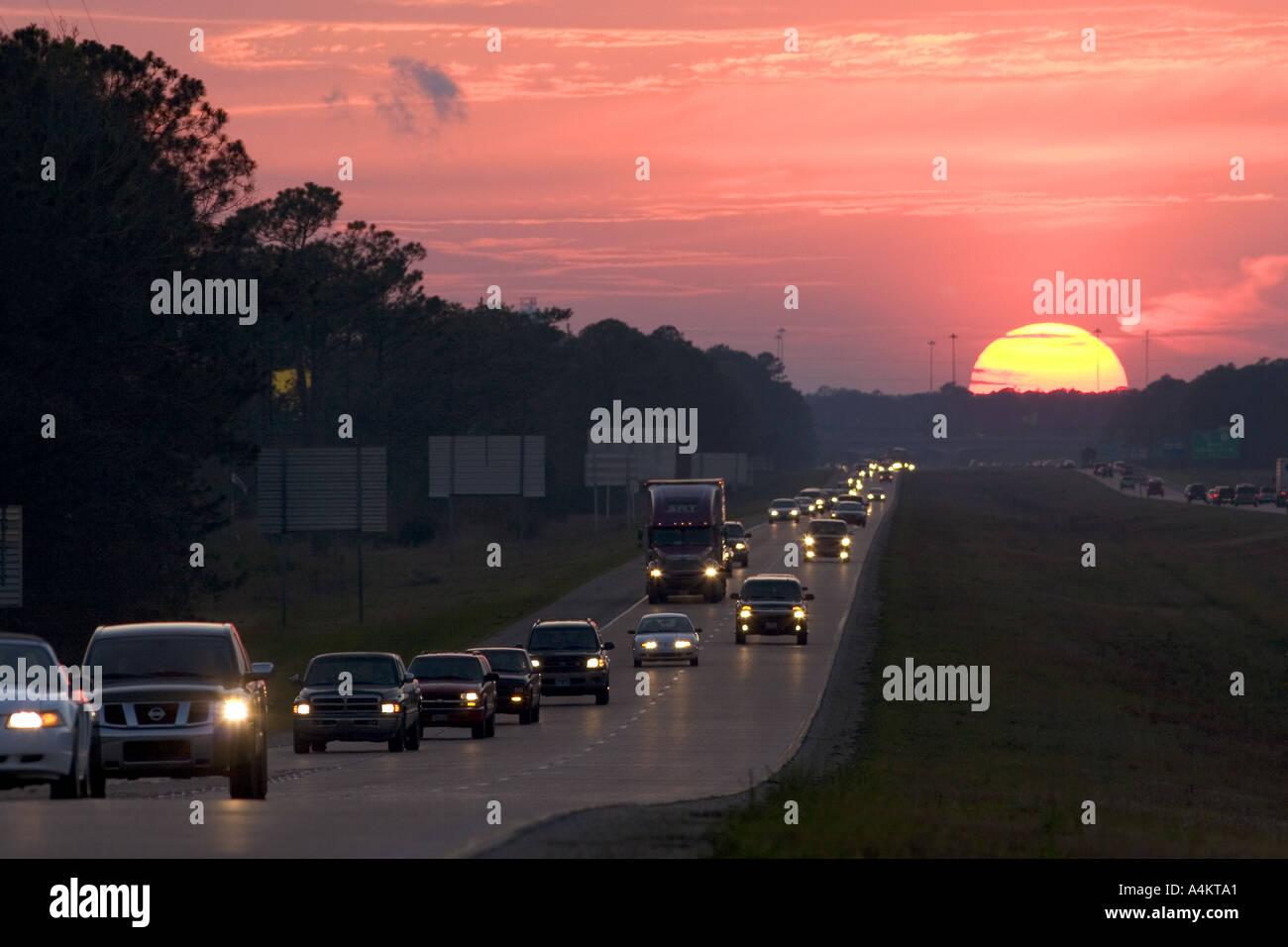 Traffic at sunset on Interstate 10 near Biloxi Mississippi