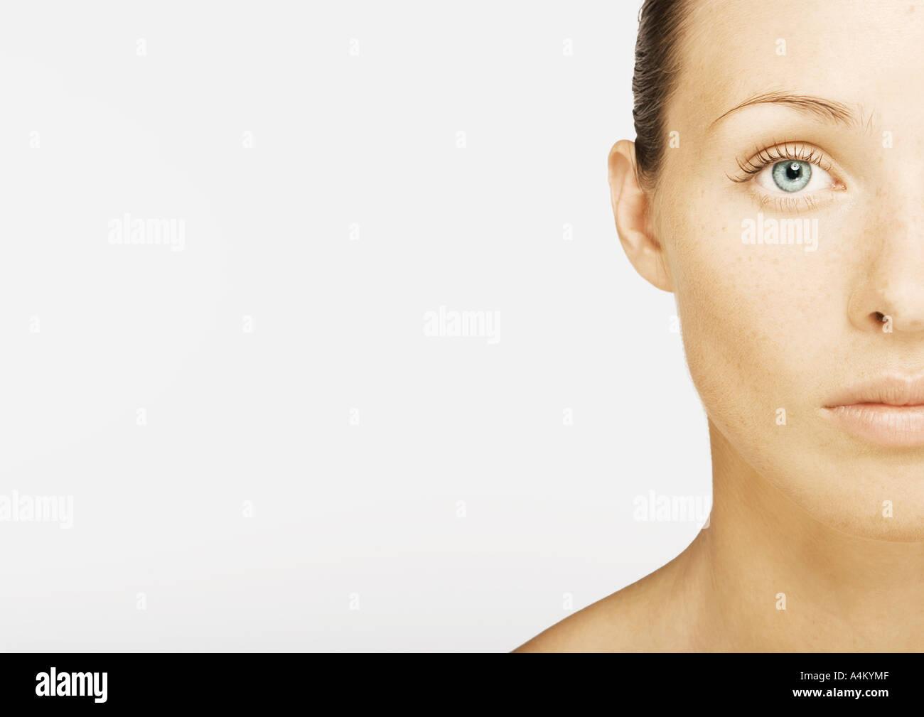 Woman's face, partial view, portrait - Stock Image