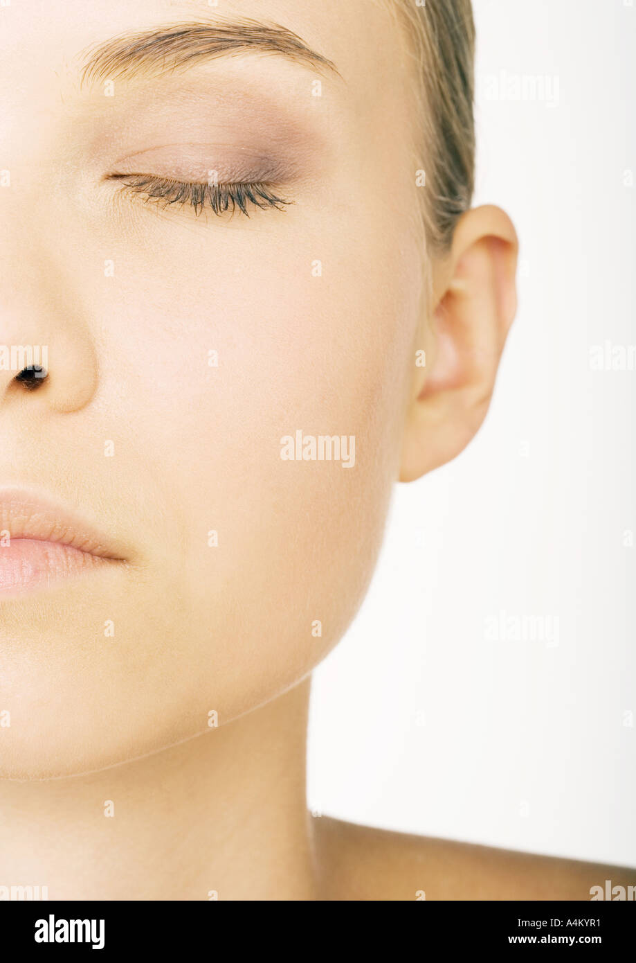 Woman's face, partial view Stock Photo