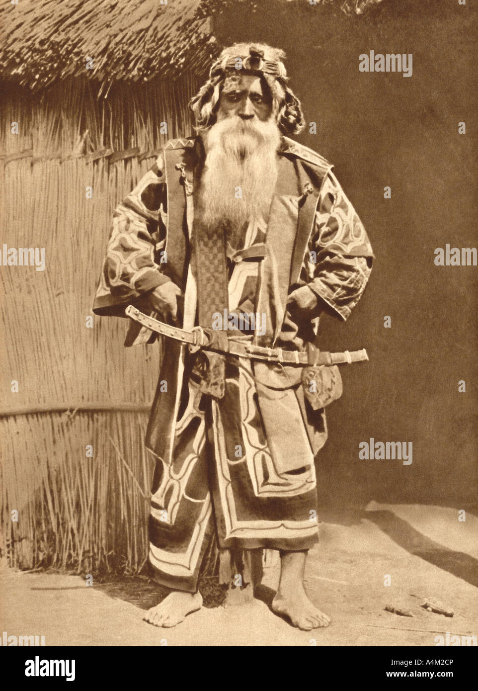 Historical Photograph of Village Chief of the Ainus from the Northern Islands of Japan - Stock Image
